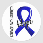Courage Faith Hope 5 Colon Cancer Round Stickers