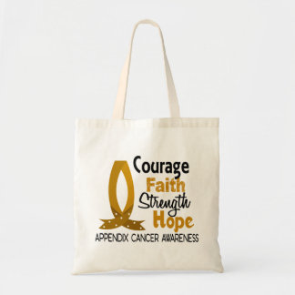 Courage Faith Strength Hope Appendix Cancer Budget Tote Bag
