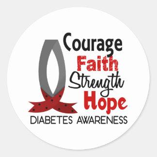 Courage Faith Strength Hope Diabetes Classic Round Sticker