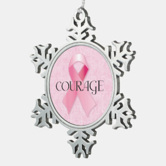 Courage Pink Ribbon Snowflake Ornament
