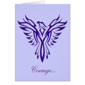 Courage - Purple Phoenix Rising blank notelet Card