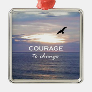 Courage To Change Silver-Colored Square Decoration