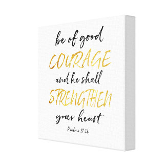Courage White and Gold Canvas Print