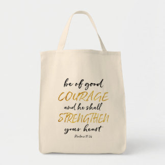 Courage White and Gold Tote