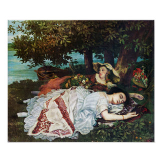 Courbet Young Ladies on the Banks of the Seine Poster
