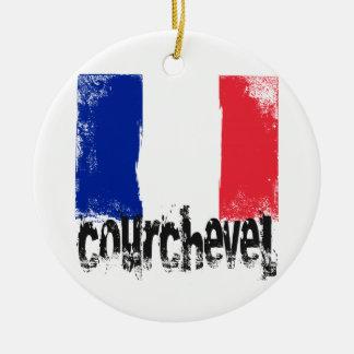 Courchevel Grunge Flag Round Ceramic Decoration