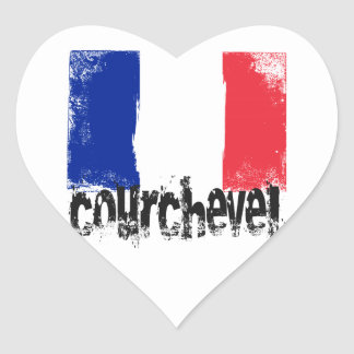 Courchevel Grunge Flag Heart Sticker