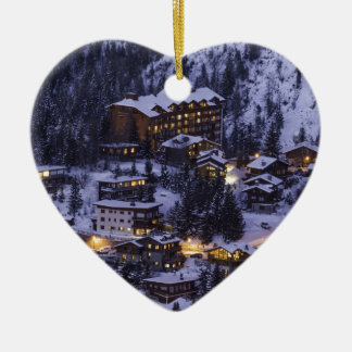 Courchevel Mountain Snow Ceramic Heart Decoration