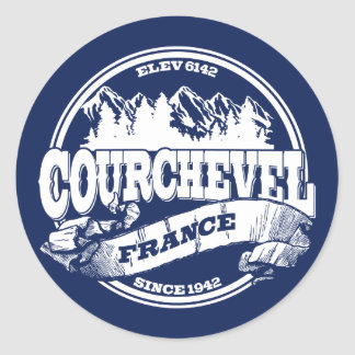 Courchevel Old Circle White Round Sticker