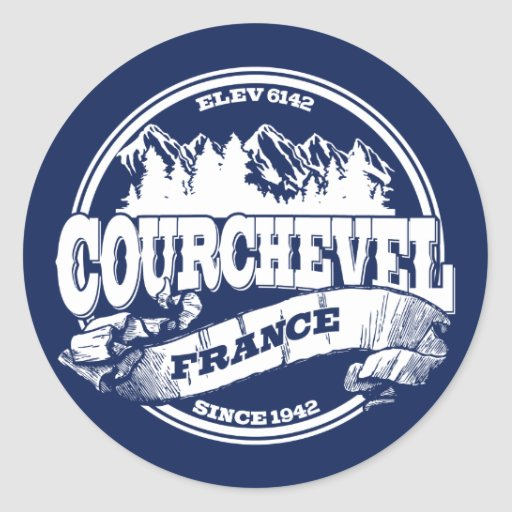 Courchevel Old Circle White Round Stickers