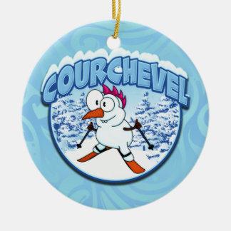 Courchevel Snowman Round Ceramic Decoration