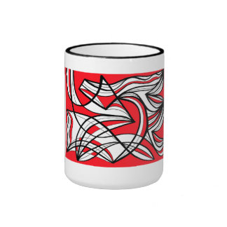 Courneya Abstract Expression Red White Black Ringer Mug
