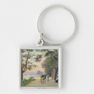 Cours-la-Reine, Paris Silver-Colored Square Key Ring