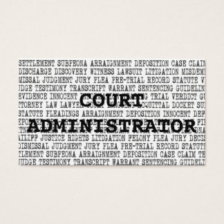 Court Administrator Legal Words Business Card