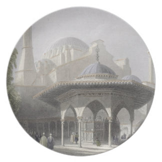 Court and Fountain of St. Sophia, Istanbul, engrav Plate
