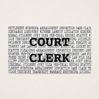 Court Clerk Legal Words Business Card