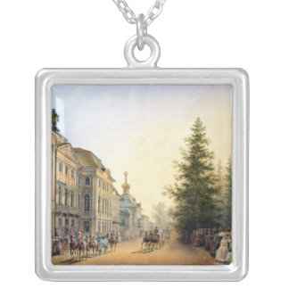 Court Departure at the Entrance of  Great Silver Plated Necklace