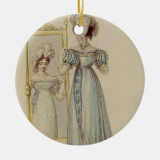 Court dress, fashion plate from Ackermann's Reposi Round Ceramic Decoration