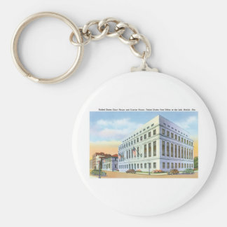 Court House and Post Office, Mobile Alabama Basic Round Button Key Ring