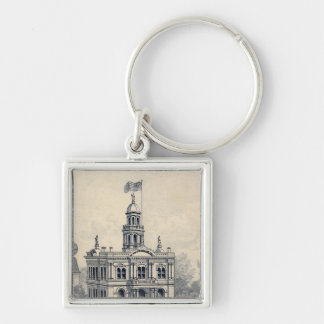Court House, Fresno Silver-Colored Square Key Ring