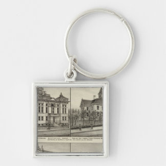 Court House, Kansas Silver-Colored Square Key Ring