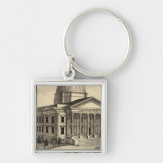 Court House, Santa Clara Co Silver-Colored Square Key Ring