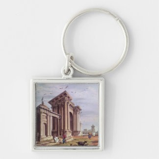Court House Street, Calcutta Silver-Colored Square Key Ring