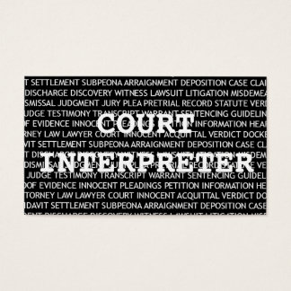 Court Interpreter Words Business Card