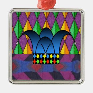 Court Jester2 Silver-Colored Square Decoration