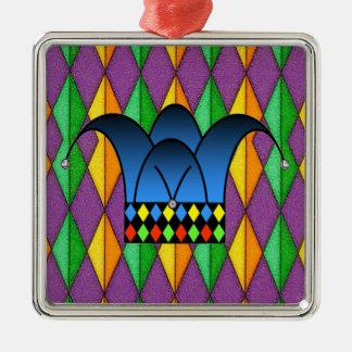 Court Jester Silver-Colored Square Decoration