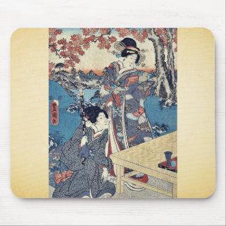 Court ladies gathering leaves by Utagawa,Toyokuni Mouse Pad