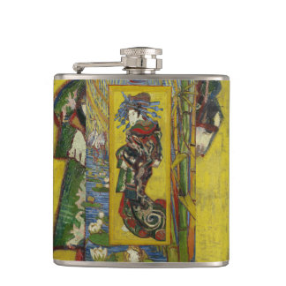 Courtesan after Eisen by Vincent Van Gogh Hip Flask