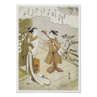 Courtesan and Attendant, Harunobu, 1760s Poster