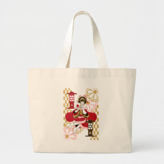 Courtesan and paper-covered lamp stand (Oiran and  Bag
