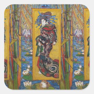 Courtesan by Vincent Willem van Gogh,painting Square Sticker