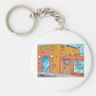 Courthouse Cartoon Key Ring