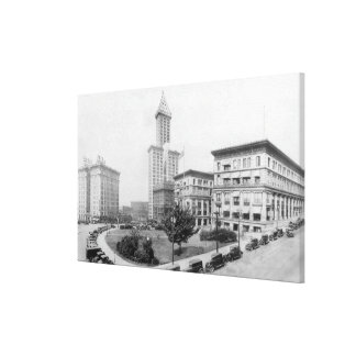 Courthouse Square and Smith Tower in Seattle Canvas Print