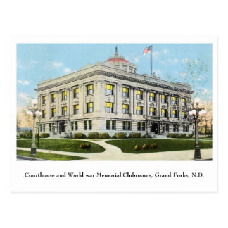 Courthouse World war Memorial club, Grand Forks ND Postcard