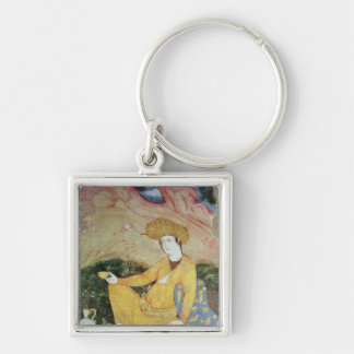 Courtier from the Court of Shah Abbas I Silver-Colored Square Key Ring