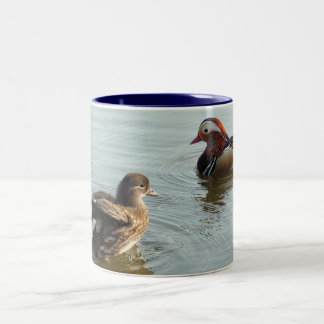 Courting Mandarin ducks Two-Tone Coffee Mug