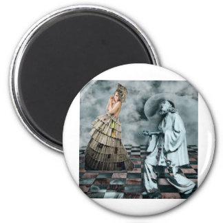 COURTLY JESTERS 6 CM ROUND MAGNET