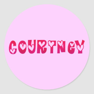 Courtney in Hearts Round Sticker