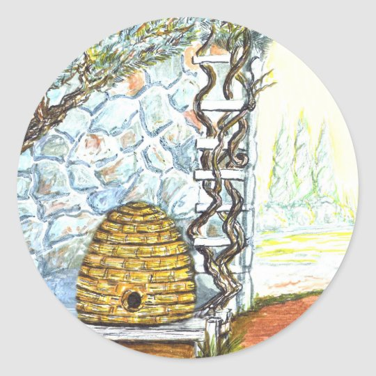 courtyard bee hive classic round sticker