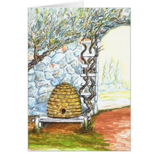 courtyard bee hive greeting cards