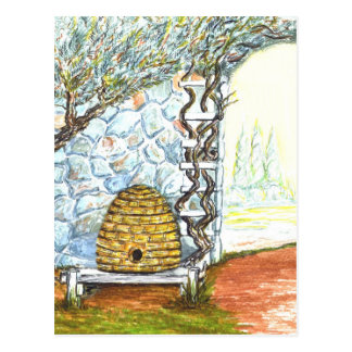 courtyard bee hive postcard