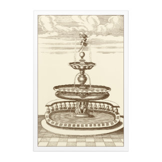 Courtyard Fountain with Ornamental Cherub Acrylic Print