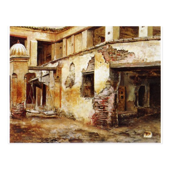 Courtyard in Morocco by Edwin Lord Weeks Postcard