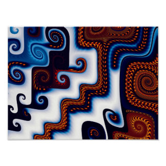 Courtyard in Snow Abstract Art Poster