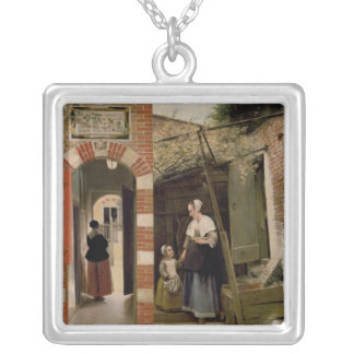 Courtyard of a house in Delft, 1658 Silver Plated Necklace