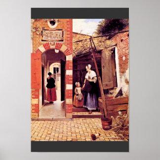 Courtyard Of A House In Delft By Hooch Pieter De ( Poster